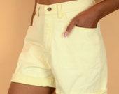 Vintage Banana Yellow High Rise Denim Shorts
