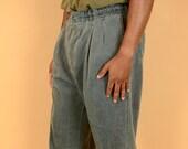 Vintage Gray Garment Wash Pleated Pants Trousers 35x33 35x32 35x34 36x33 36x32 36x34