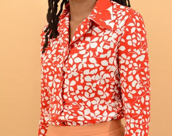 Vintage Red Floral Poly Button Down Shirt
