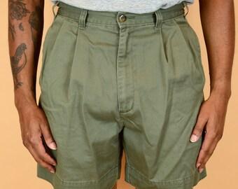 Vintage Green Pleated Dockers Military Hiking Dad Shorts (Medium 30 31 32)