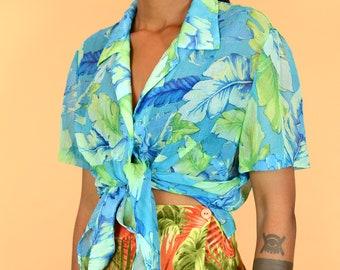 Vintage Sheer Floral Blue Green Short Sleeve Blouse