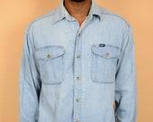 Vintage Lee Blue Denim Button Down Collar Large Oversize Unisex