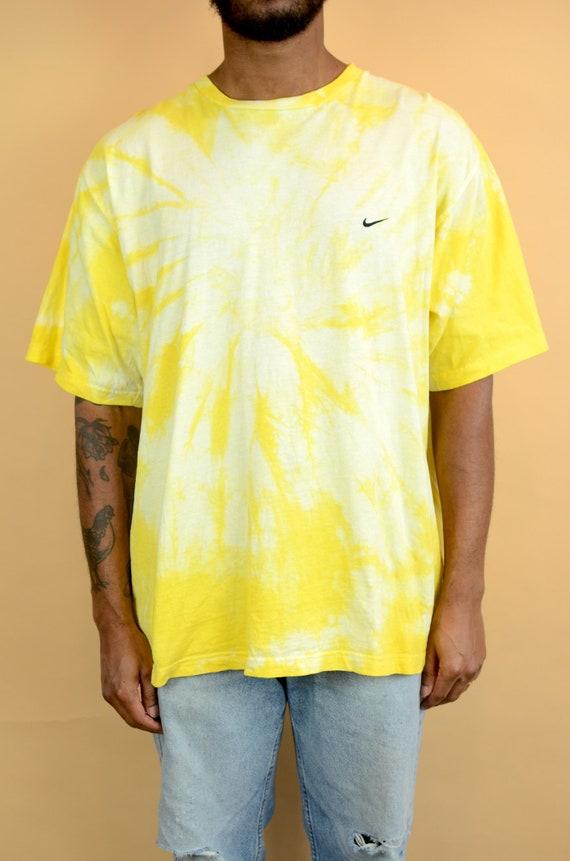 Vintage Yellow Tie Dye Nike Tee XL Large Oversize