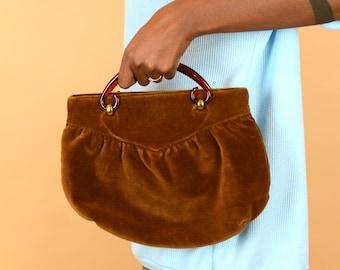 Vintage Brown Faux Corduroy Top Handle Purse / Boho Hippie Handbag