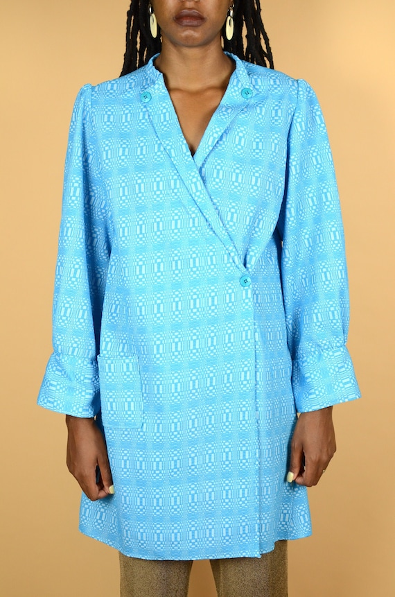 Vintage Hand Made Baby Blue Unisex Overcoat / Robe