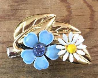 Fairy Hair, Repurposed Vintage, Flower, Leaf, Daisy, Hair clip