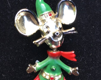 BJ brooch, BJ mouse brooch, Christmas mouse