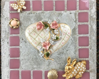 """Mosaic Mixed Media """"Easter is Here!"""" Easter, Spring, Treasure Stone"""