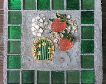 """Mixed Media """"Strawberry Fairy Door"""" fairy, Fairy Door, strawberry, strawberries Treasure Stone"""