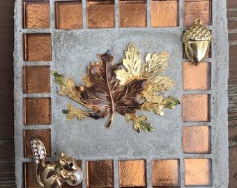 "Mosaic Tile Art ""Fall Harvest"" squirrel, fall, autumn, acorn, Treasure Stone"