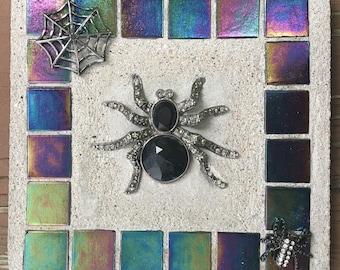 "Mosaic Mixed Media ""Vintage Spider"" Fall, Halloween, spider, spider web, web, Treasure Stone"