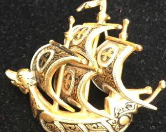 Damascene ship brooch, Spain, c clasp, Victorian