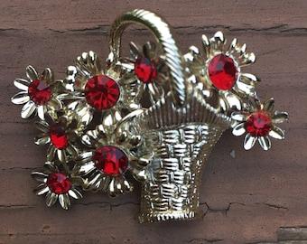 DODDS Signed brooch, flower basket, red rhinestones