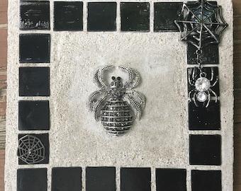 "Mosaic Mixed Media ""Creepy Crawlers"" Fall, Halloween, spider, spider web, web, Treasure Stone"