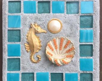 """Mosaic Tile Art """"Vintage Surf"""" Seahorse, Treasure Stone"""