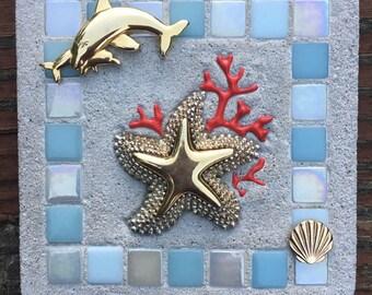 "Mixed Media ""Exploring with Mom"" Dolphin, Ocean, Sealife, Coral Reef, Starfish, Treasure Stone"