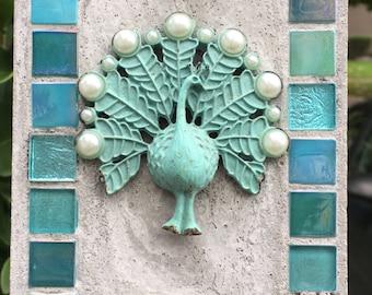 Mosaic Mixed Media Turquose Peacock Treasure Stone