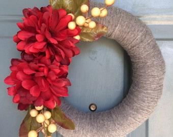 Front Door Wreath - Yarn Wreath -Winter Yarn Wreath -Yarn Door Wreaths -  Front Door Decor -Front Door Wreath - Door Decoration - Wreaths
