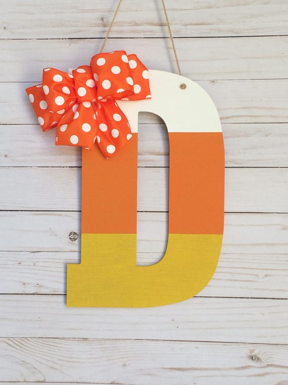 Fall Door Hanger Candy Corn Door Decoration Front Door Decor Halloween Door Decor Candy Corn Monogram Wall Hanging Harvest Decor