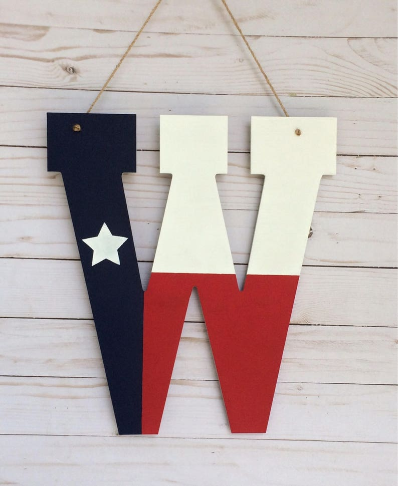 Texas Flag Door Hanger  Pesonalized Gifts  Texas Decor Door image 1