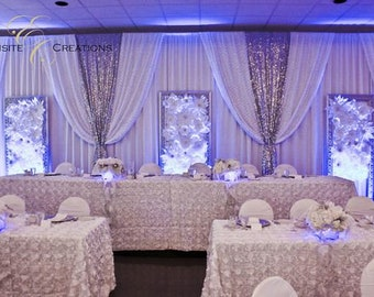 White Wedding Backdrop With Shiny Silver Swags Wedding Drapes Etsy