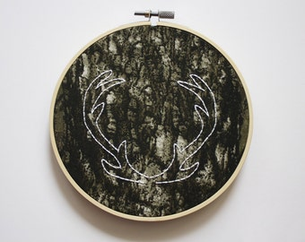 Camo Deer Antlers Embroidery Hoop // Antlers Wall Art // Camo Hoop Art // Hunting Decor // Camo Wedding Gift // 6 inch hoop