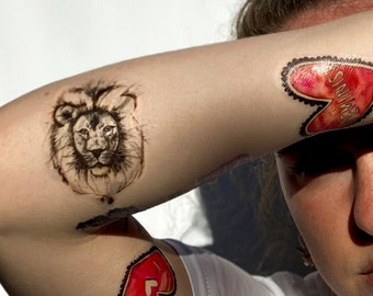 CECIL THE LION temporary tattoos pack - hand illustrated original design - tribute to remember Cecil the lion