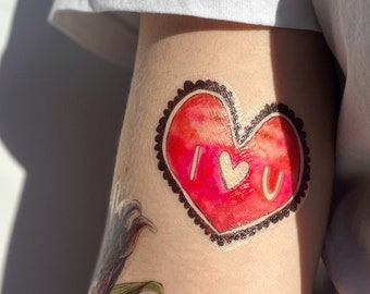 I HEART YOU temporary tattoos pack - hand illustrated original design - I love you heart tattoo