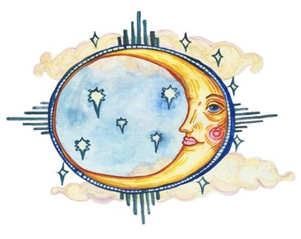 MOON FACE temporary tattoos pack - hand illustrated original designs - rosy cheek moon in the stars