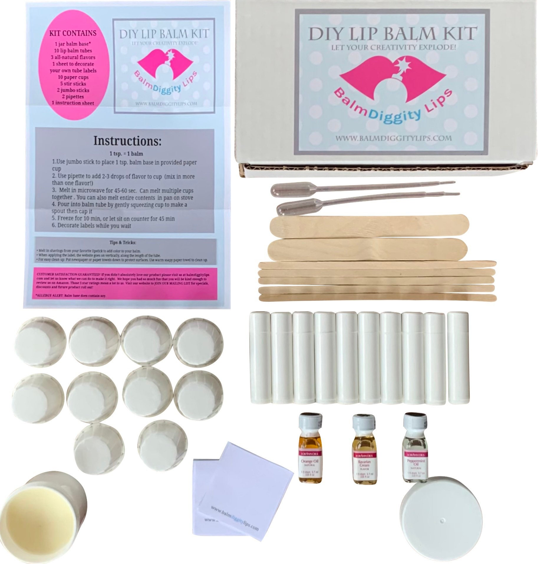 Easy DIY Lip Balm Making Kit   Everything you need to make 20 natural lip  balms for birthdays, crafts, parties, and family fun
