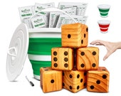 Yardzee, Farkle, 20 Games Giant Yard Dice Set (All Weather) with Bucket, Lid, 5 Laminated Scorecards, Marker Jumbo Outdoor Lawn Game