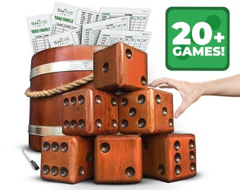 Yardzee, Farkle, & 20+ Games   Giant Yard Dice Set (All Weather) with Wooden Bucket, 5 Big Laminated Score Cards for Each Game, and Marker