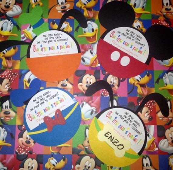 Mickey And Friends Invitations Etsy