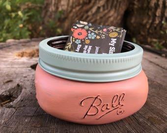 Business Card Holder - Office Decor - Mason jar - Card Holder for office - Supplies - Shabby Chic Decor - Cottage Decor - Gift for her