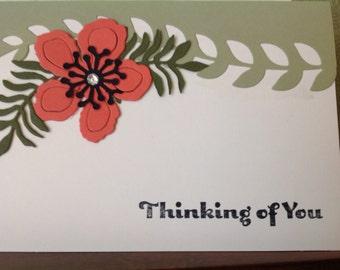 Handmade card- all occassion- thinking of you- sympathy card- flower card- female- blank card