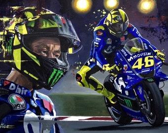 Valentino Rossi limited edition art printfrom original painting by Greg Tillett MotoGP