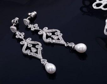 Pearl Earrings, Bridal Earrings, Wedding Earrings, Bridesmaids Earrings, CZ Earrings, Crystal Earrings, Wedding Jewelry, Bridal Jewelry