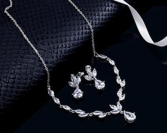 Wedding Necklace Set, Bridal Jewelry Set, Bridal Necklace, Wedding Necklace, Crystal Necklace, Crystal Necklace Set, Bridal Jewelry