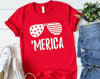 246f9859 Merica T-Shirt // 4th of July Shirt Women // Patriotic Shirt // 'Merica  Tshirt // America T-shirt // 4th of July Outfit // Graphic Tee