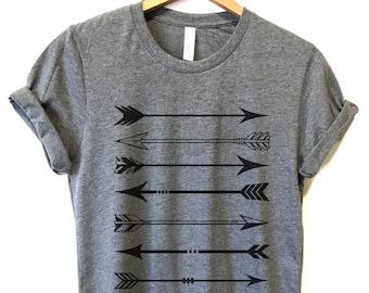3ad99a56 Arrow Tshirt, Ladies Shirts, Ladies Unisex Crewneck Shirt, Wife Gift, Long  Sleeve TShirt, Boho Arrow Shirt, Cute T Shirt, Cute shirts