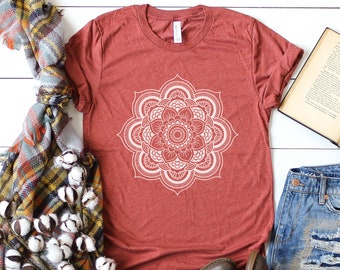 3cd448d6d Mandala Shirt, Womens boho t-shirt, women tshirt, bohemian t-shirt, boho, boho  womens shirt, cute outfit, graphic tee, mandala