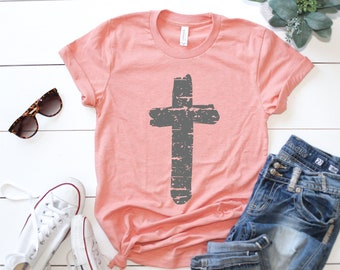 d2ce52ba2 Vintage Cross Shirt // Christian Shirt // Faith Shirt // Ladies Easter Shirt  // Easter Graphic Tee // Jesus Cross Shirt