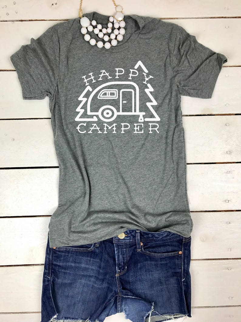 2f90ba51462dd Cute Camping Shirt, Cute Happy Camper Design, Happy Camper shirt for women,  Cute Mom Camping Shirt, Camping Life, Mom Gift, Camping Gift