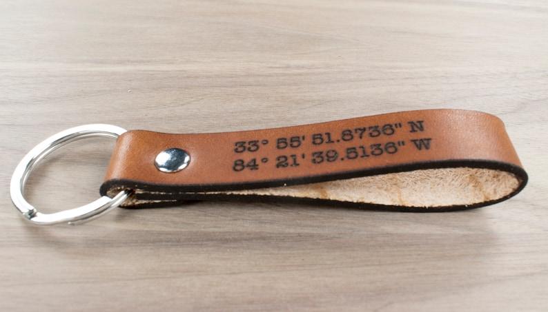 Leather Keyring Birthday Name Optional Engraving Clayton