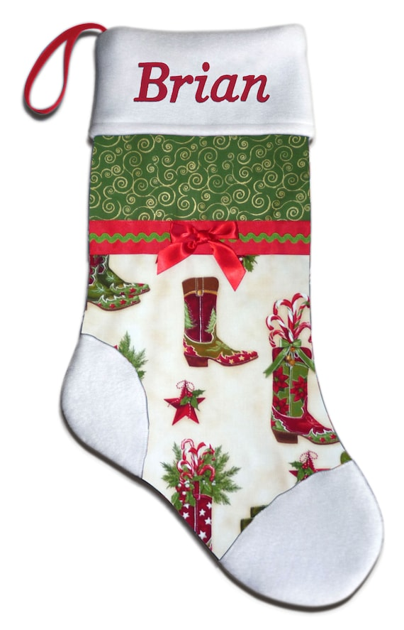 Western Christmas Stockings Personalized.Personalized Western Cowboy Boot Christmas Stocking Embroidered