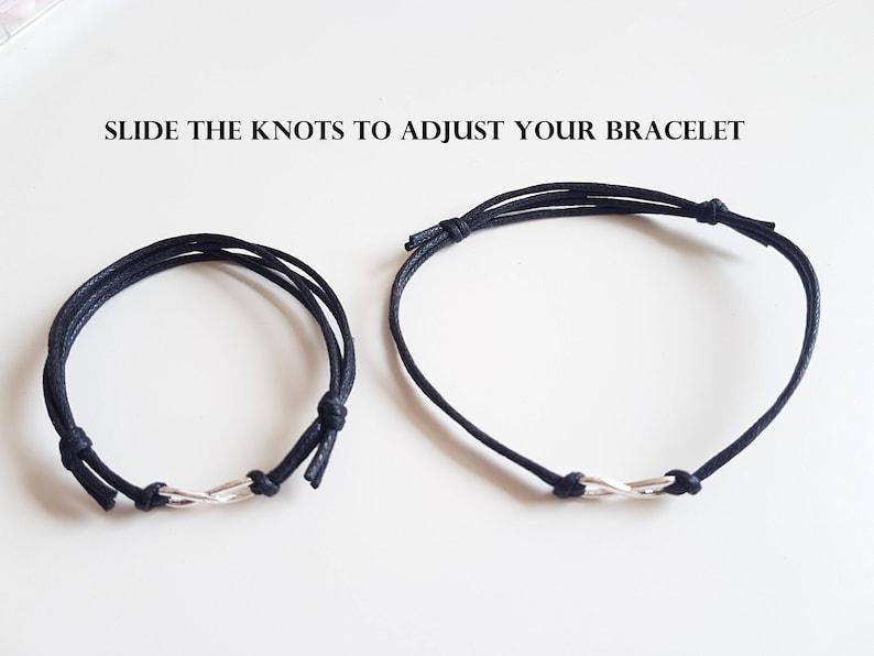 Couple bracelet. Mens infinity bracelet Friendship bracelet Gift for him Fathers Day Boyfriend gift Sterling silver infinity