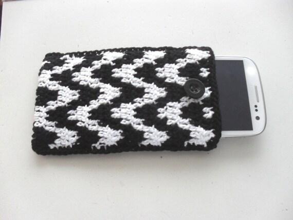 Haakpatroon Telefoonhoesje In Zwart En Wit Met Een Zig Zag Etsy