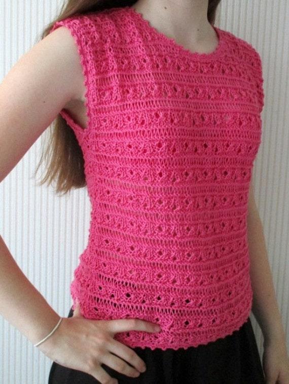 Suéter de verano rosa de algodón chaleco de verano tejido de   Etsy