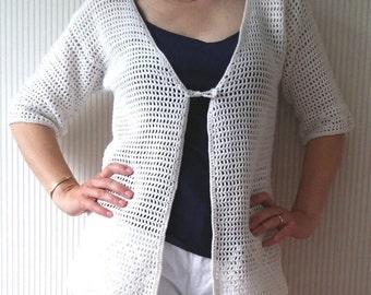 "Crochet jacket pattern US terms, Summer vest ""Lily"", crochet jacket pattern, summer crochet sweater, filet crochet pattern, crochet cardigan"