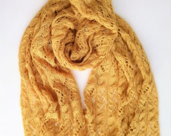 Knitting shawl pattern / Spring Rye stola / Lace wrap knitting pattern / Lace and cables ochre shawl / PDF Knitting Wrap Pattern